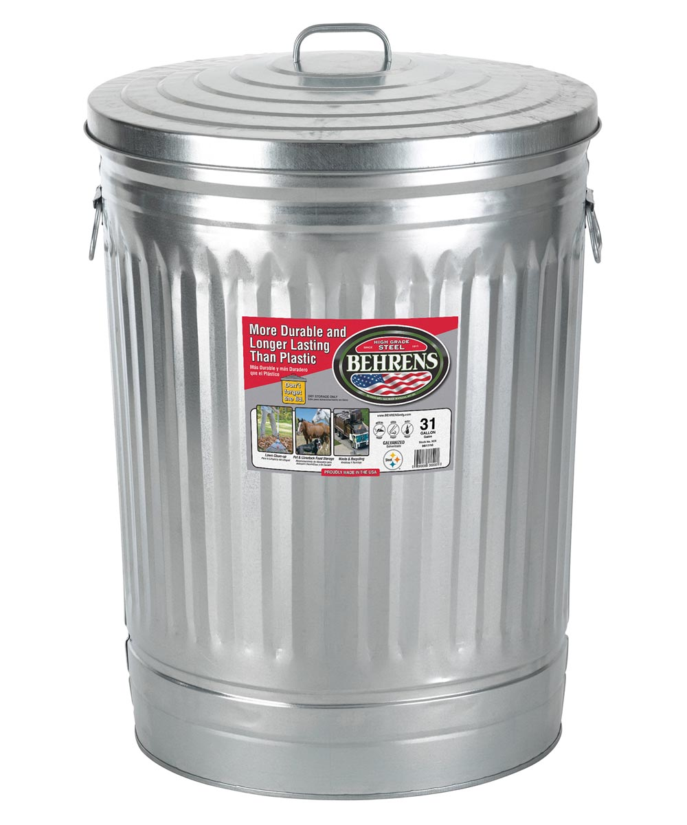 31 Gal Silver Galvanized Steel Trash Can W/Lid