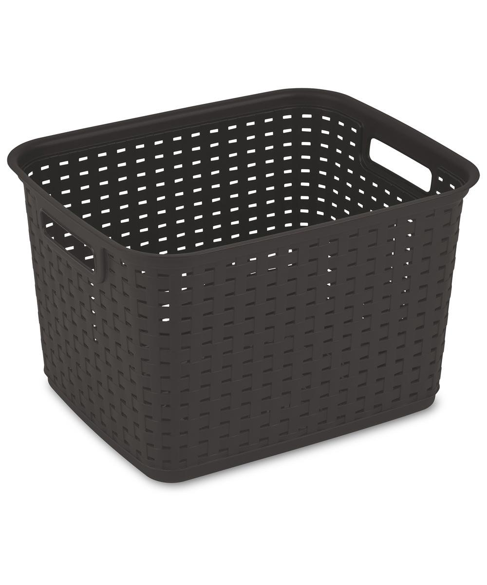 Sterilite Tall Weave Storage Basket, Espresso