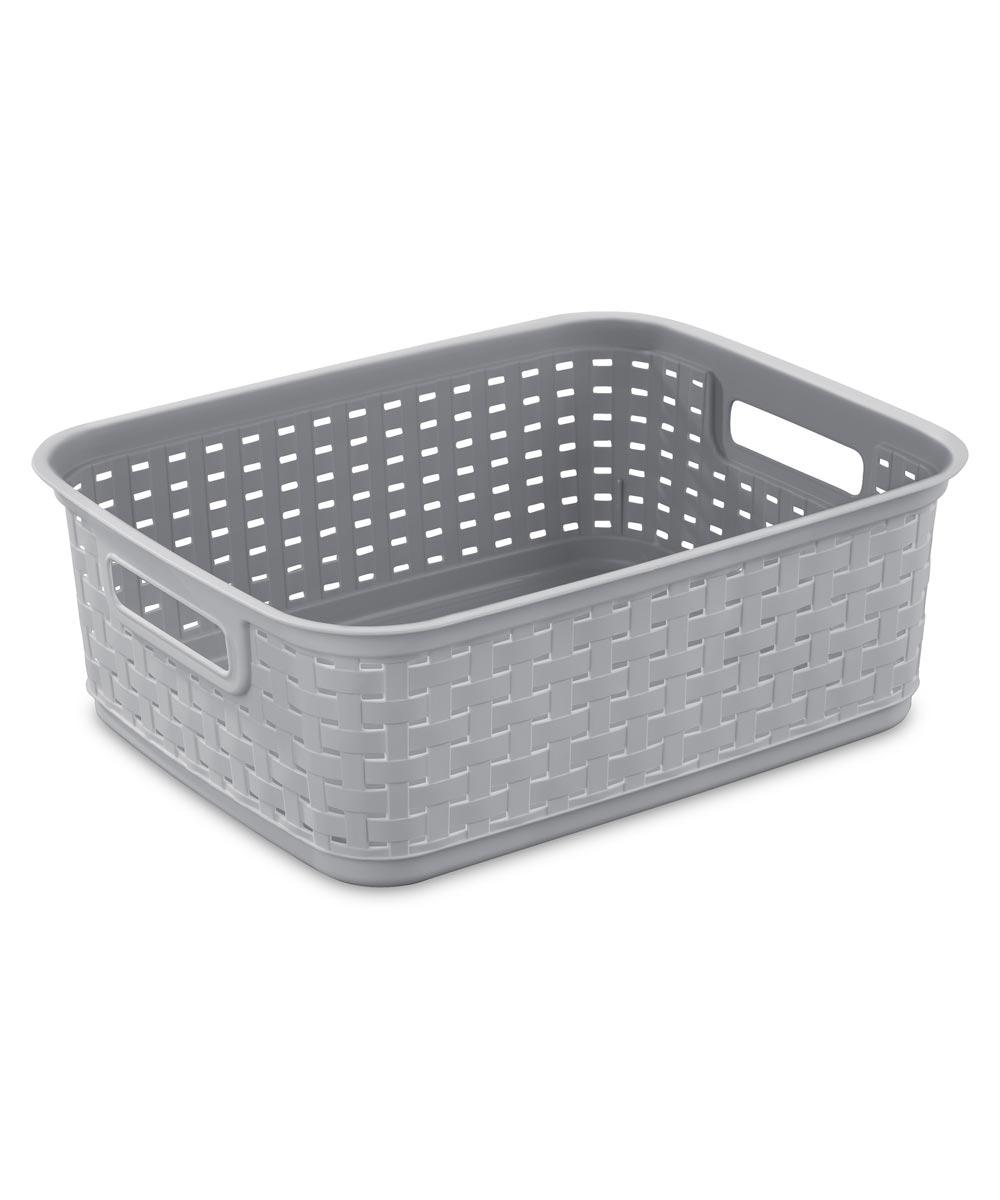 15 in. x 12.25 in. x 5.25 in. Cement Short Weave Basket