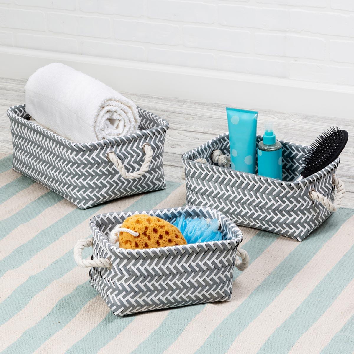 Zig Zag Nesting Baskets, Set of 3, Dark Gray