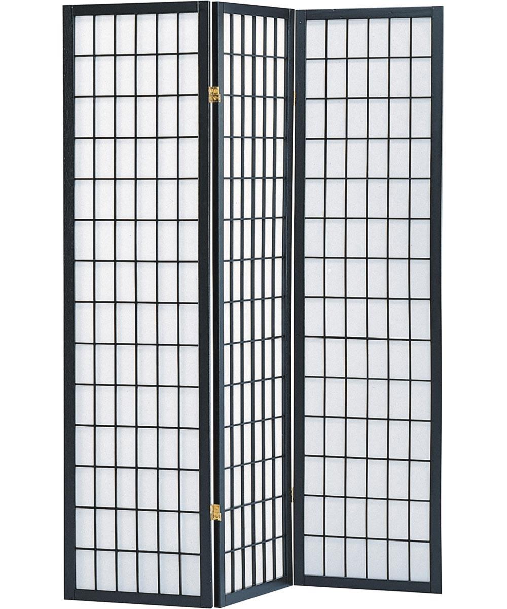 3-Panel Shoji Screen Room Divider, Black Grid Design
