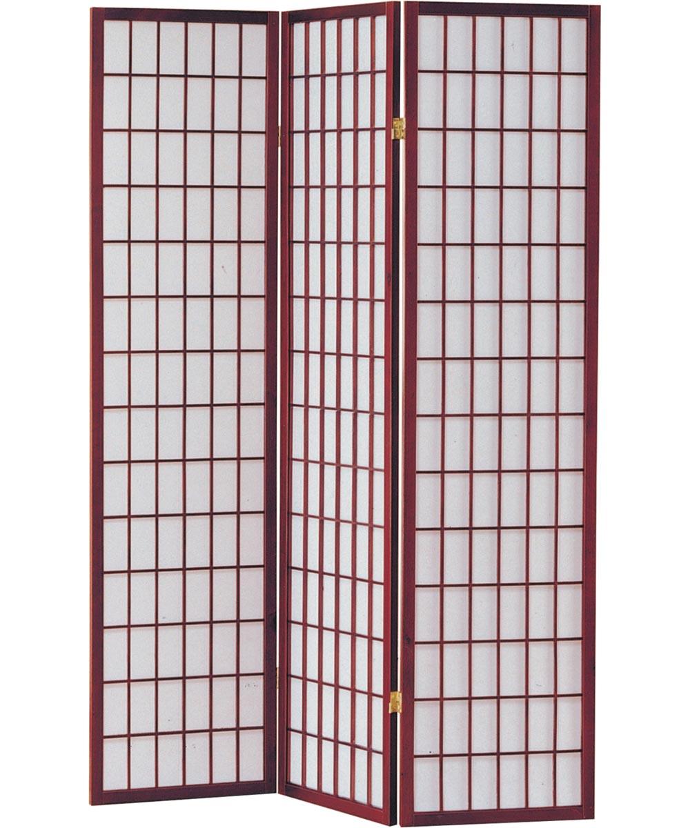 3-Panel Shoji Screen Room Divider, Cherry Grid Design
