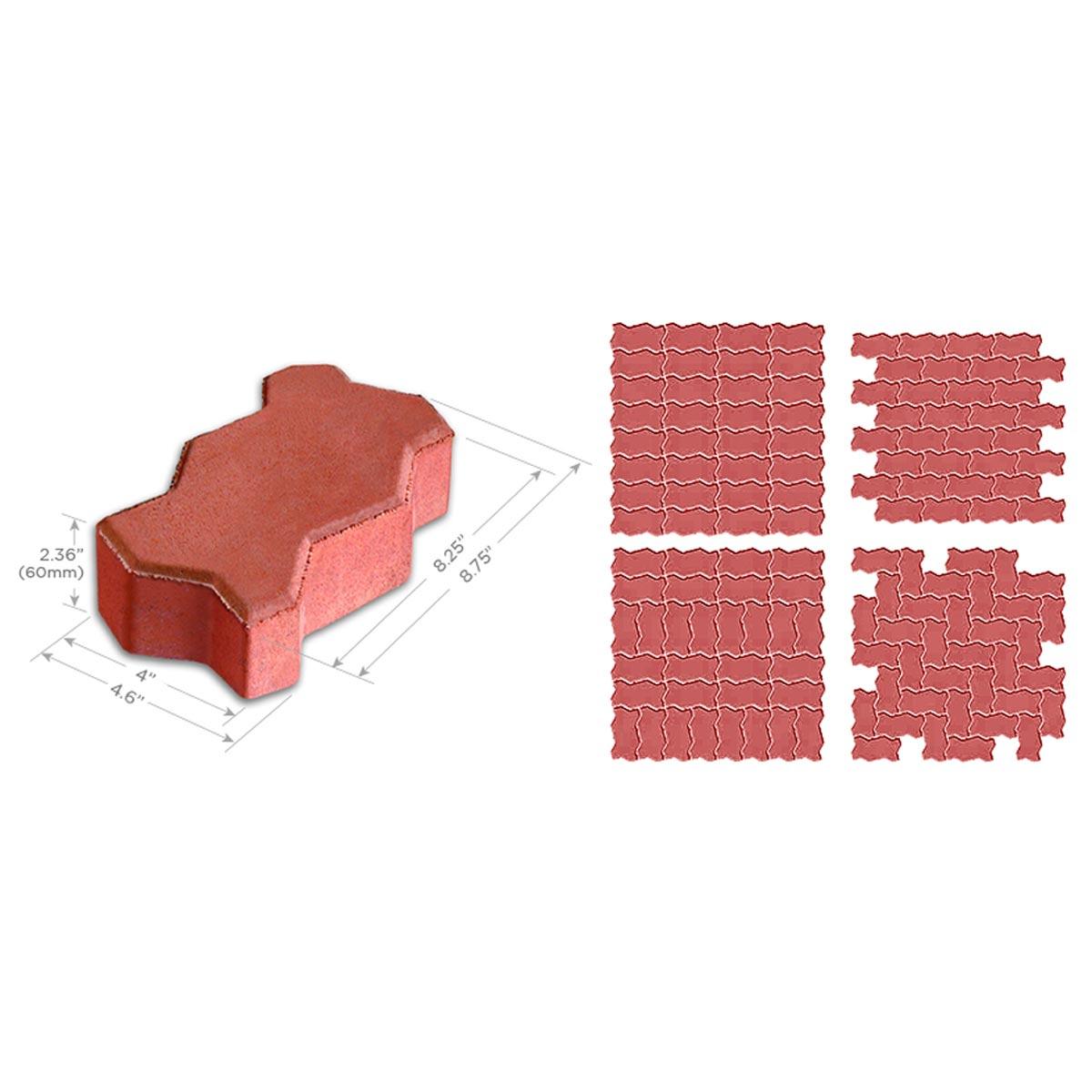 Interlocking Red Concrete Wave Paver