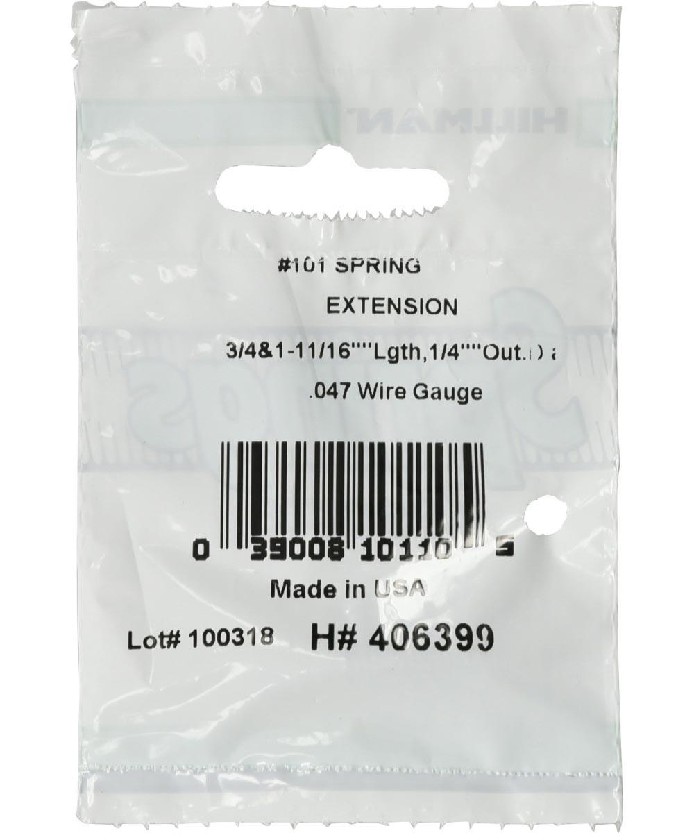 #101 Extension Spring, 1/4 in. (Diam) x 3/4 & 1-11/16 OAL in. (L)