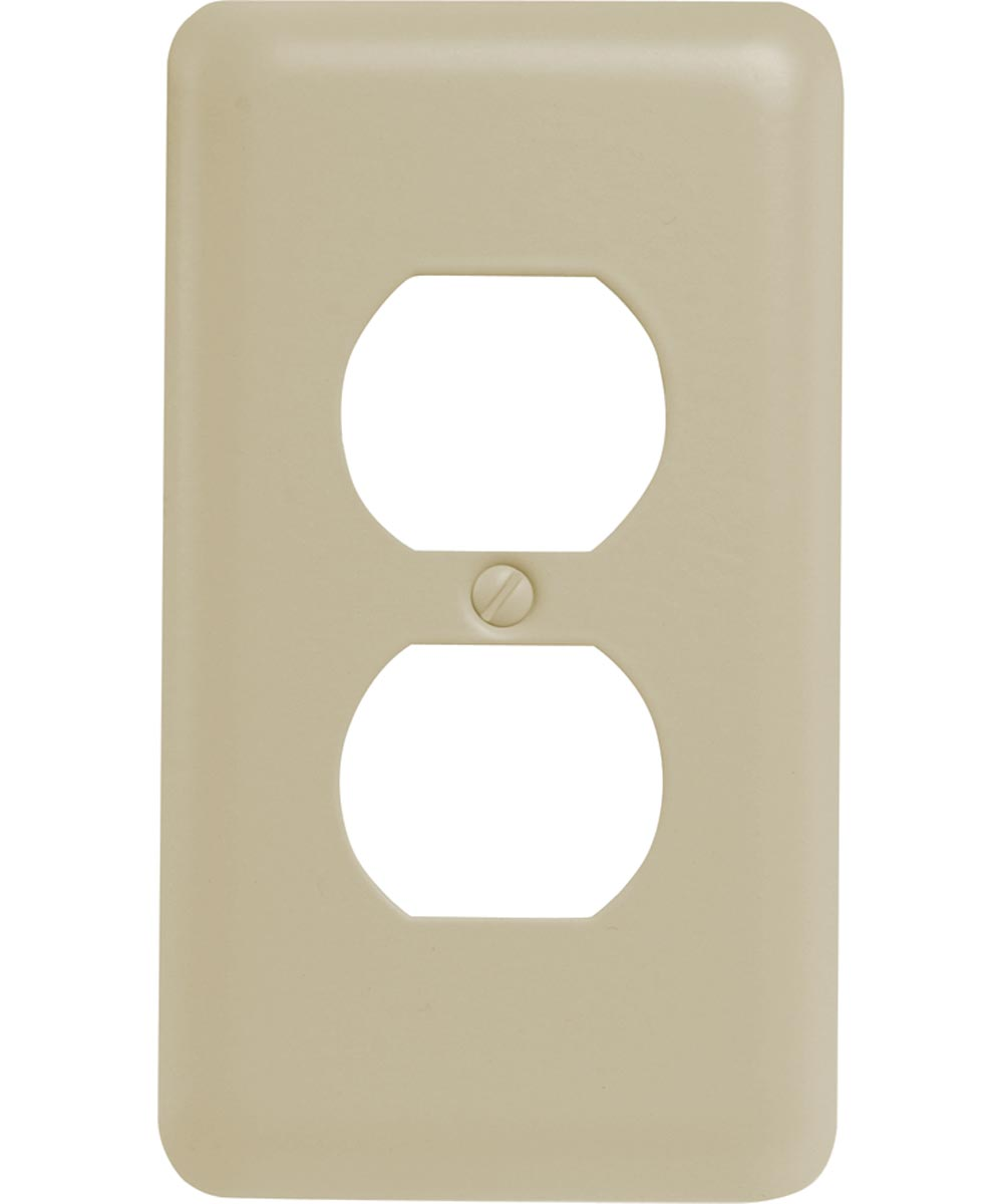 Receptacle Wall Plate, 1 Gang, 5 in. (L) x 2-3/4 in. (W) x 1/4 in. (D), Almond