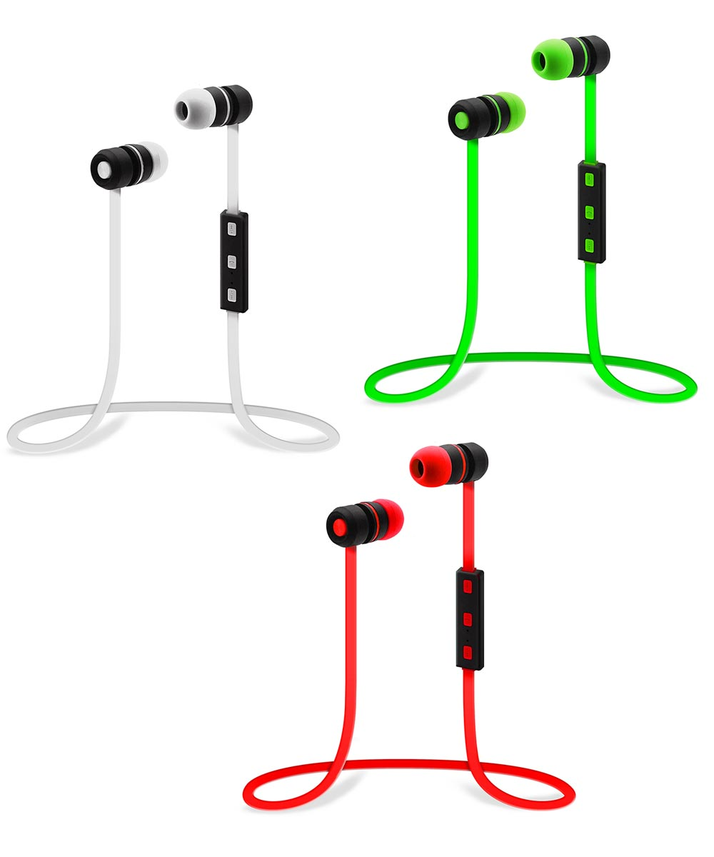 2 ft. Bluetooth Stereo Earbuds With In-Line Microphone Assorted