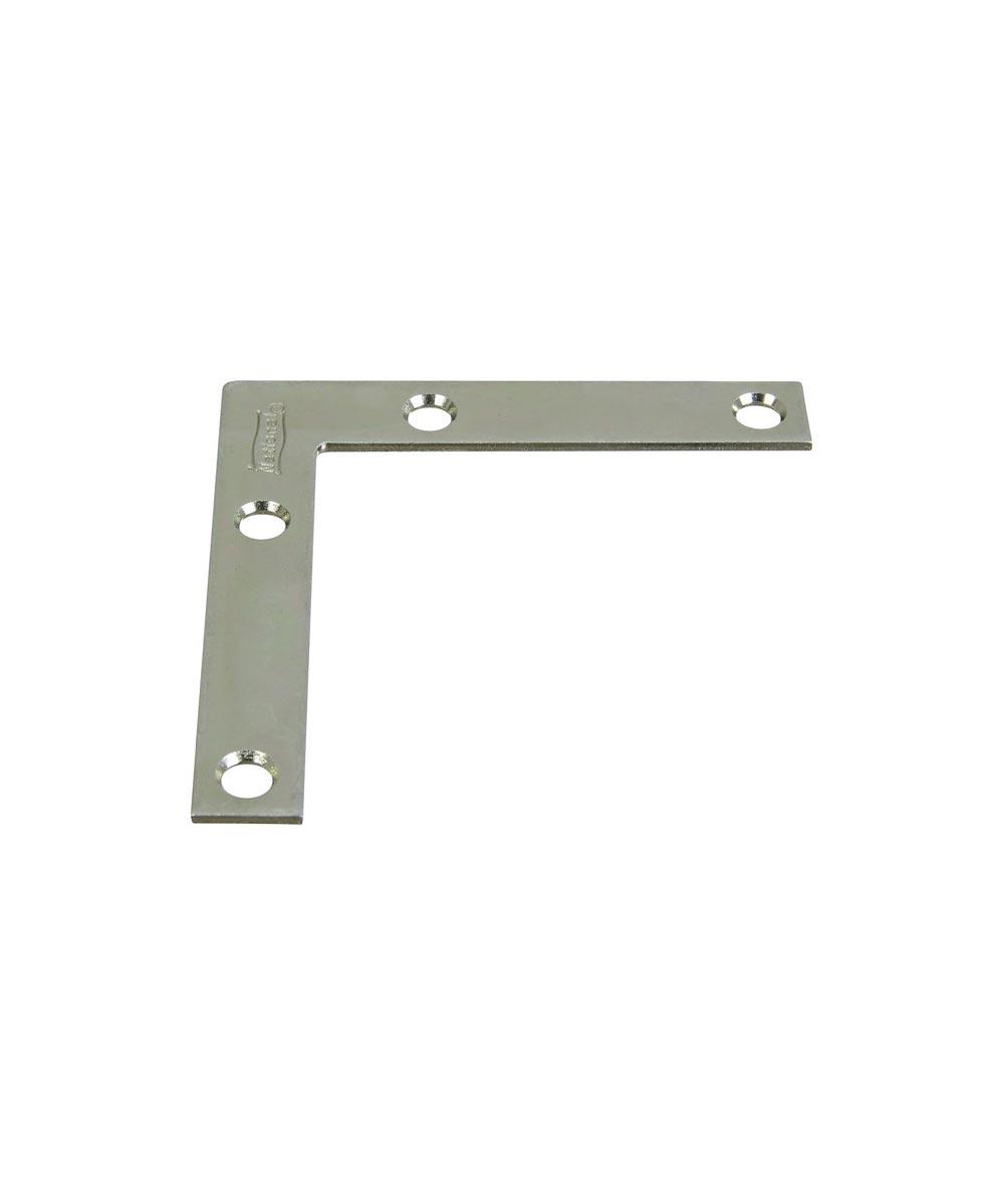 Flat Corner Brace, 3X1/2 Inches, Zinc, 4 Pack