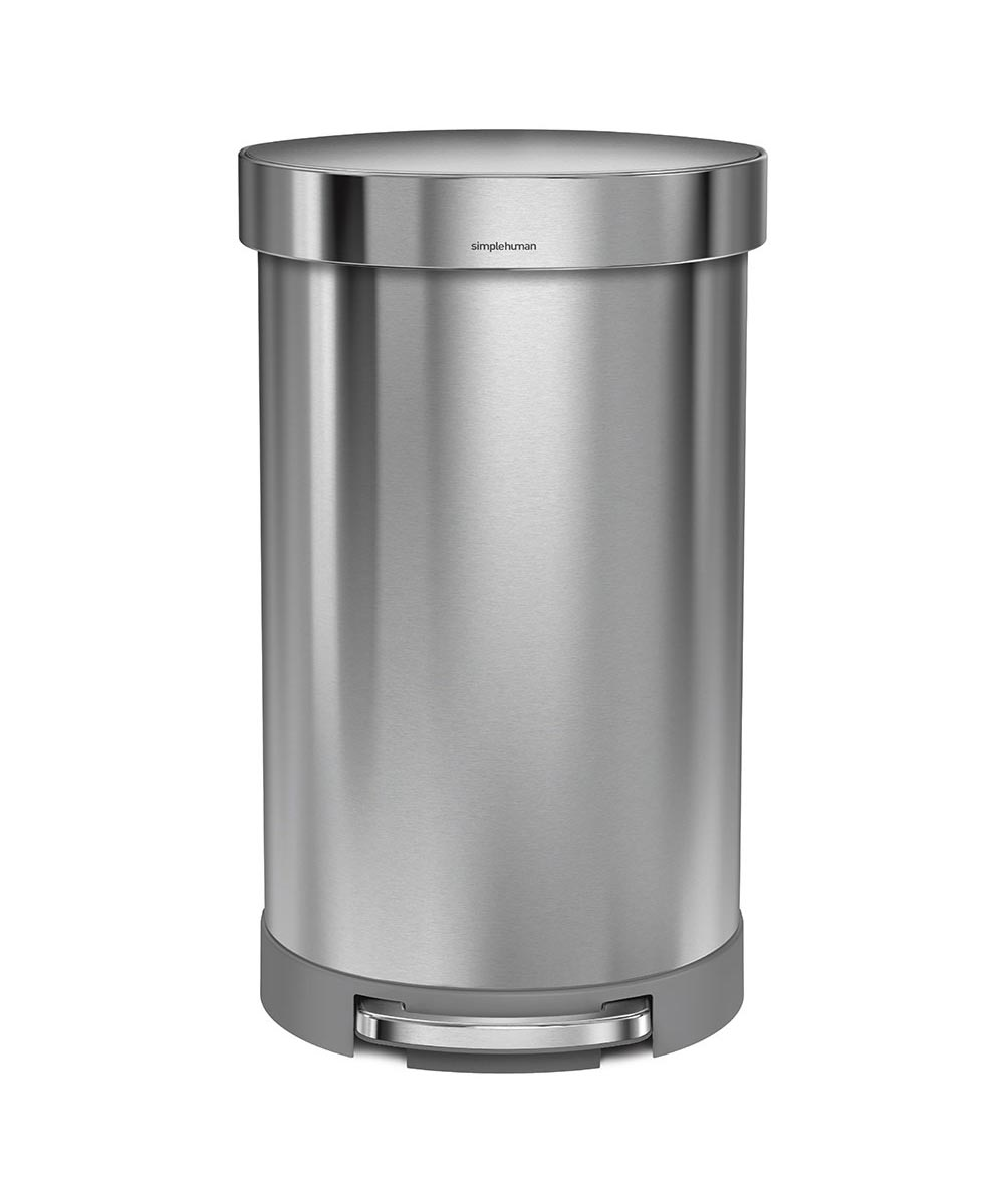 45 Liters/11.9 Gallons Semi-Round Step Trash Can, Stainless Steel