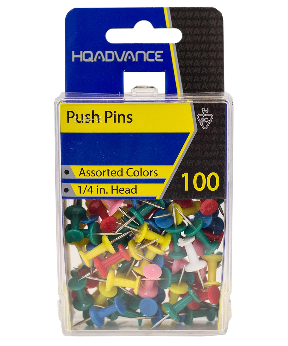 Push Pins Assorted Colors 100 Count