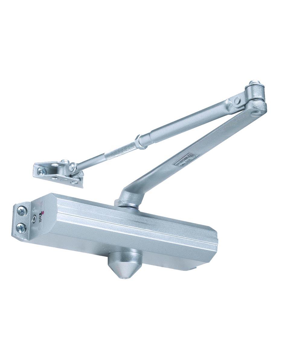 Tell Adjustable Door Closer, Steel, Aluminum Painted