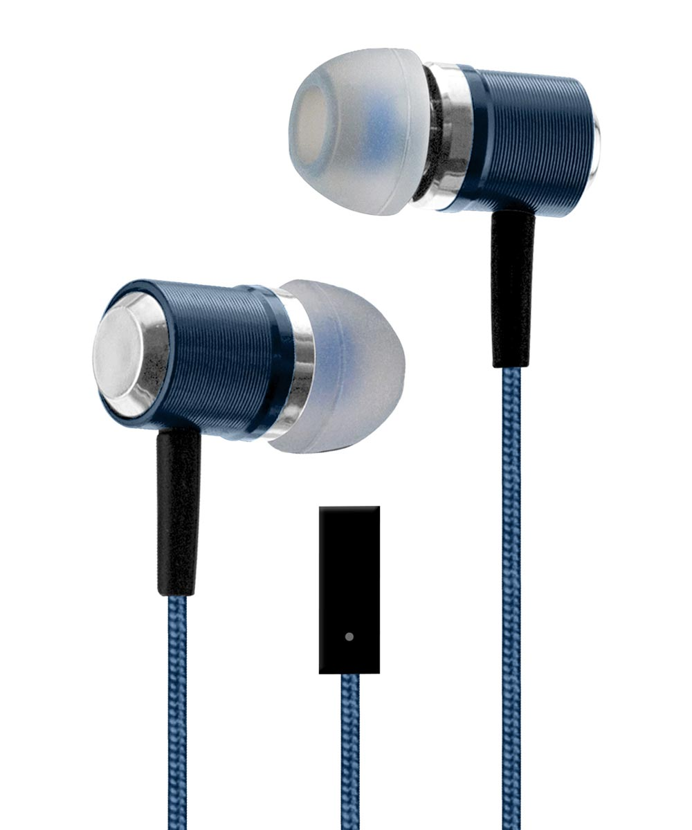 Blue Metal Buds Stereo Earbuds
