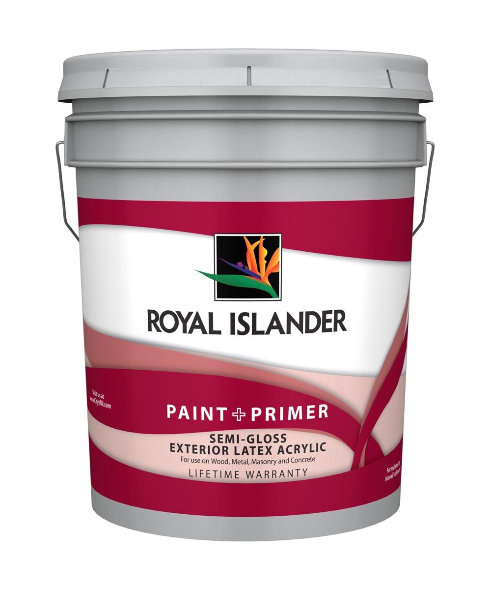5 Gallon Exterior Semi-Gloss White Base Paint + Primer