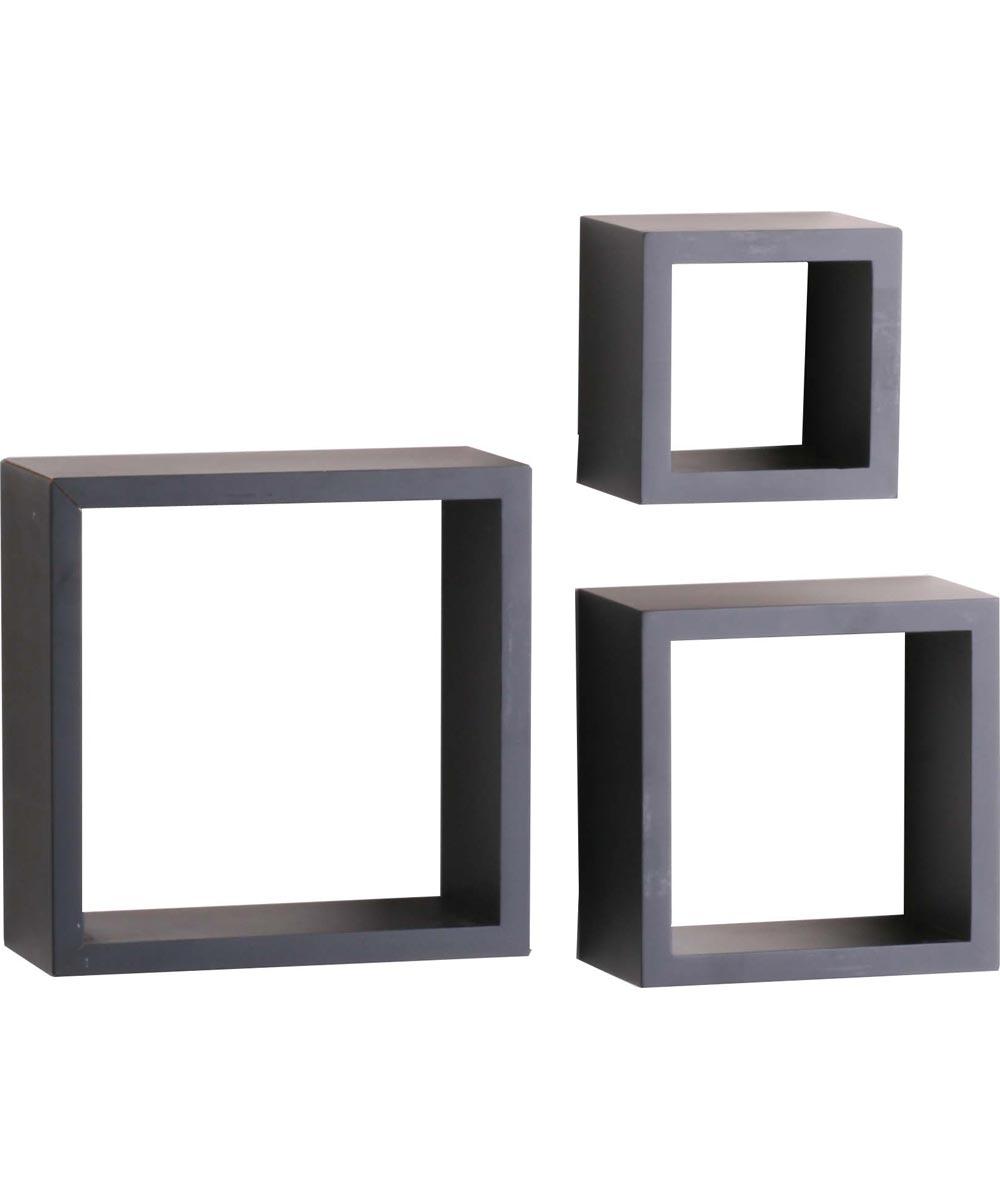 Shadow Box Decorative Shelf Kit 5, 7, 9 in. (L) x 4 in. (W), 50 lb, Wood, Floating Black