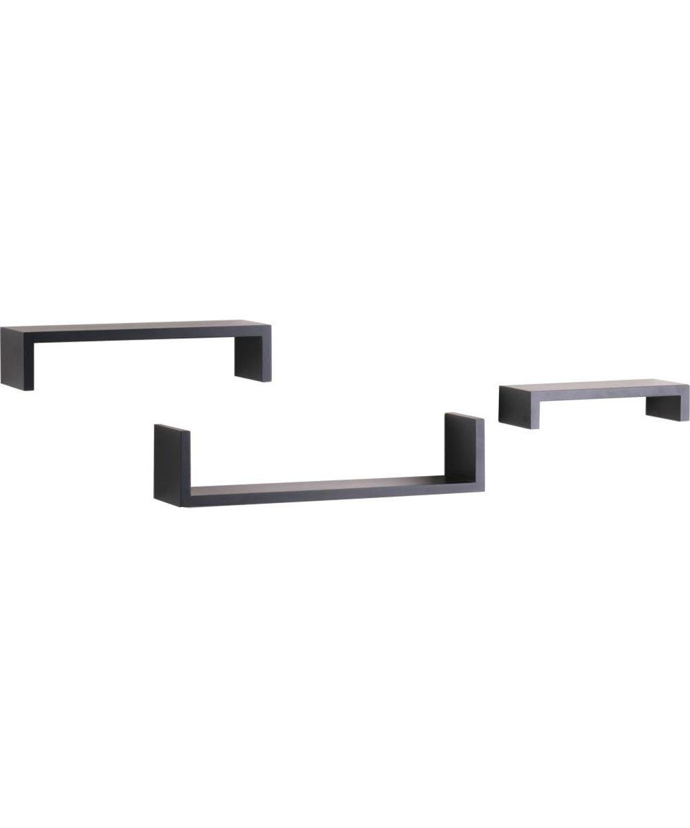 Decorative Ledge Shelving 10, 14, 18 in. (L) x 2, 3, 4 in. (W), 40 lb, Wood, Floating Black
