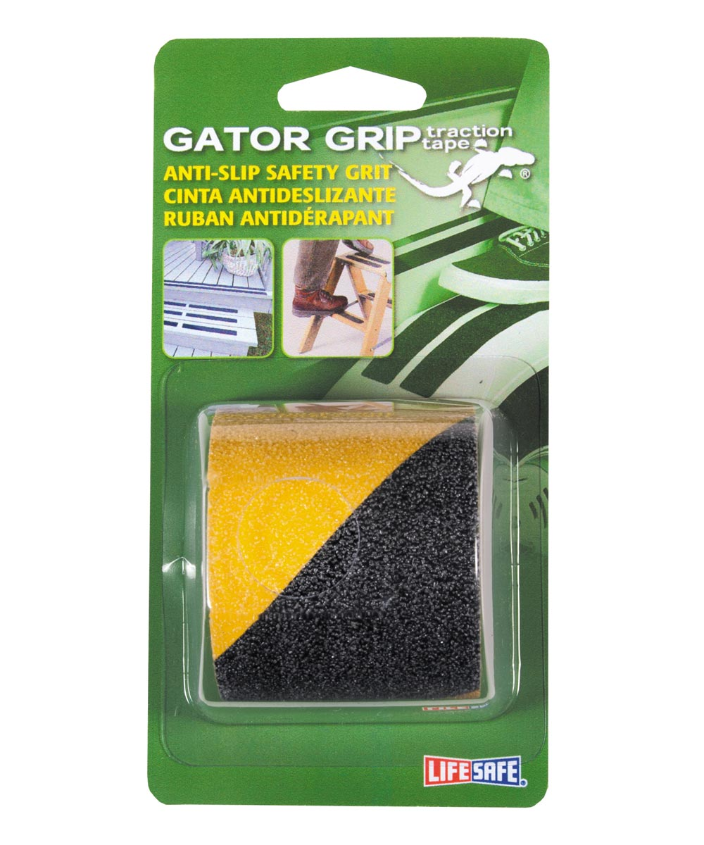 Gator Grip Traction Tape Anti Slip Safety Grit, 2 in. x 5 ft., Yellow & Black