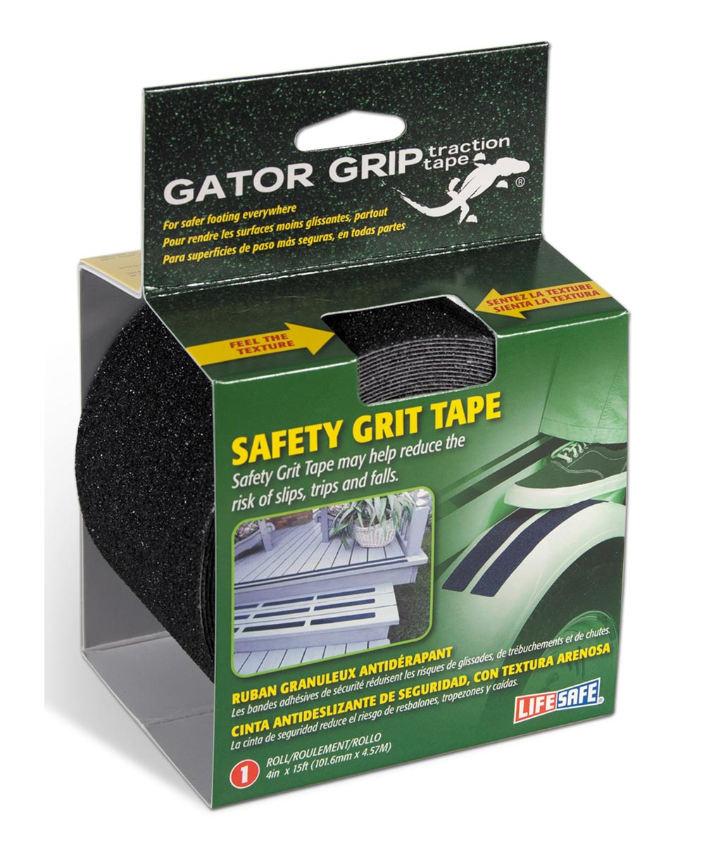 Gator Grip Traction Tape Anti Slip Safety Grit, 4 in. x 15 ft., Black