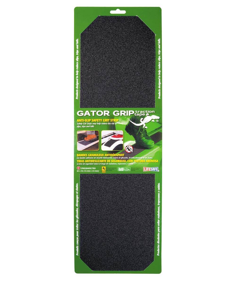 6 in. x 21 in. Black Gator Grip Anti Slip Safety Grit Tape Strip