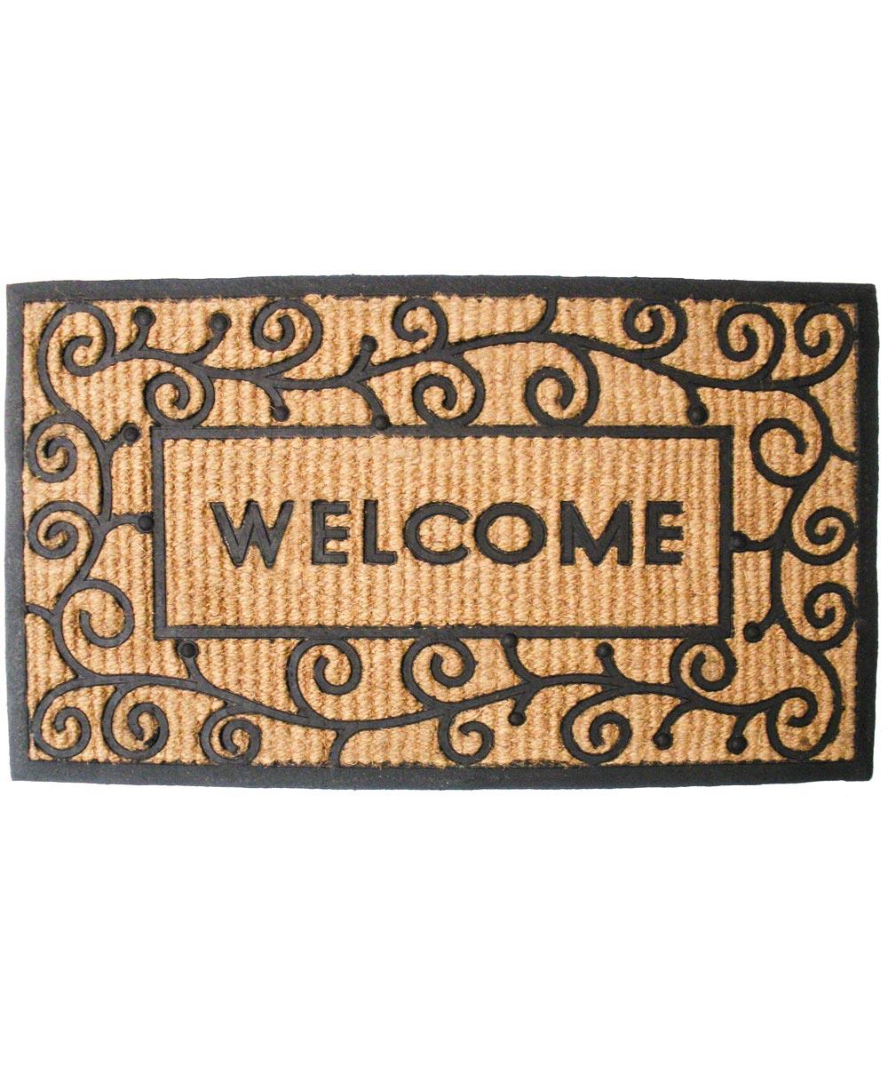J & M Home Fashions Coir & Rubber Light Swirls Doormat 18x30