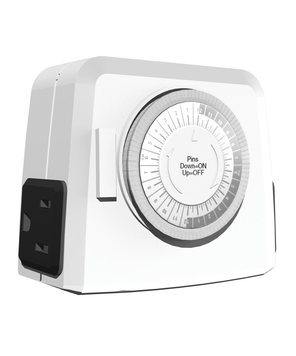 24 Hour White 2-Outlet Mechanical Timer