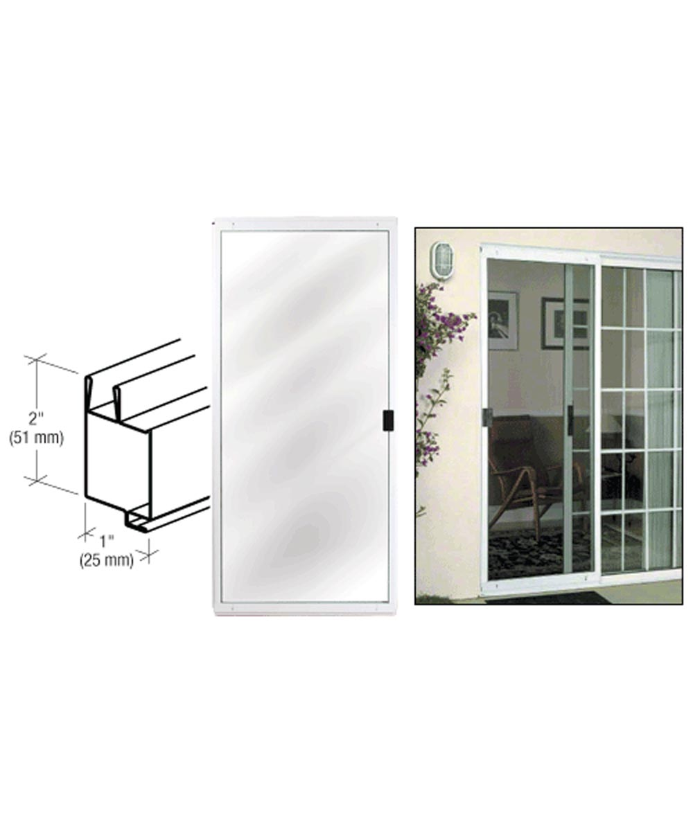 48 in. x 80 in. CM Architectural Sliding Patio Screen Door, White