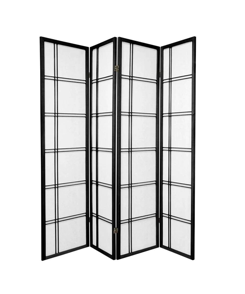 4-Panel Shoji Screen Room Divider, Black Double Cross Design