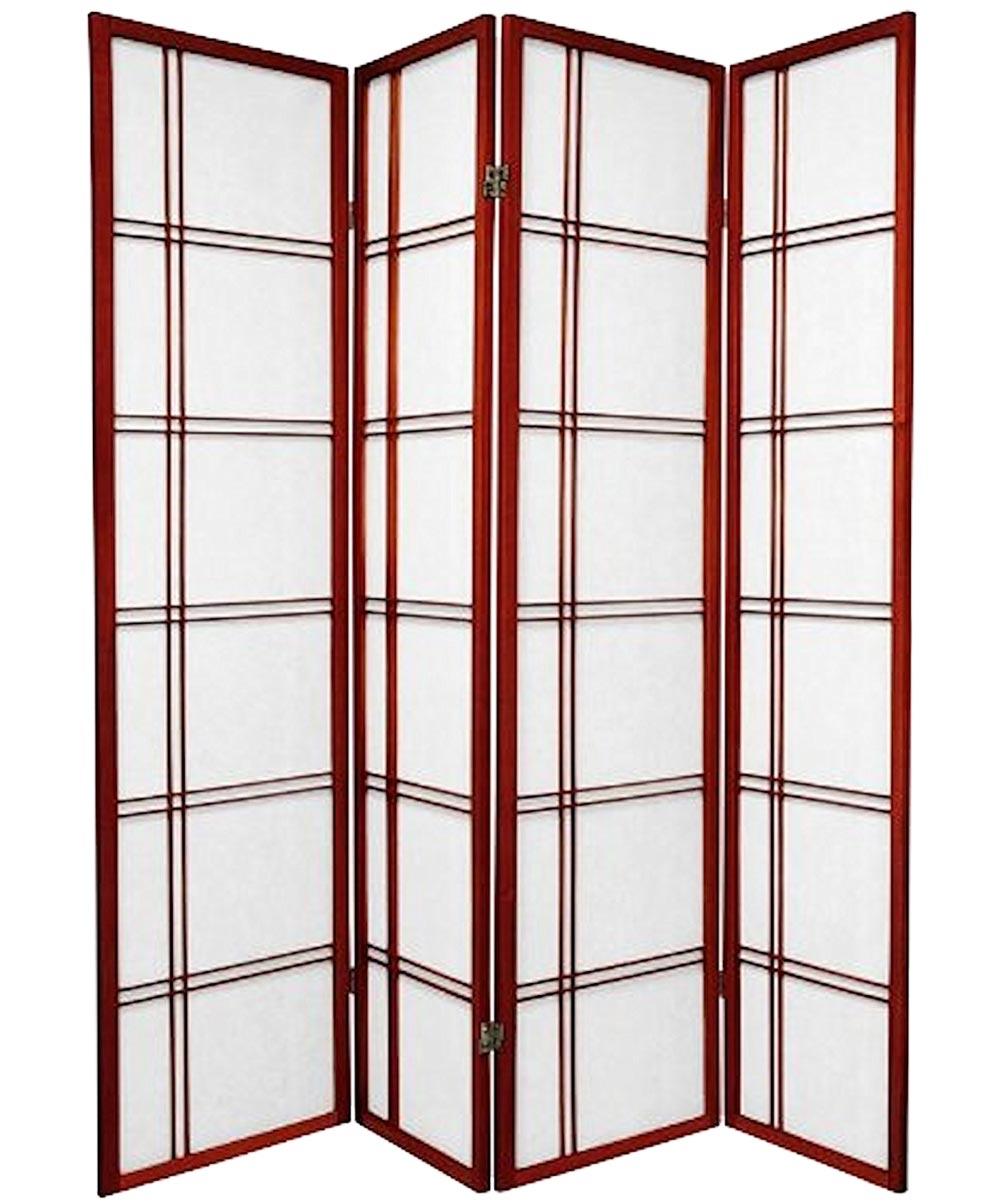 4-Panel Shoji Screen Room Divider, Cherry Double Cross Design