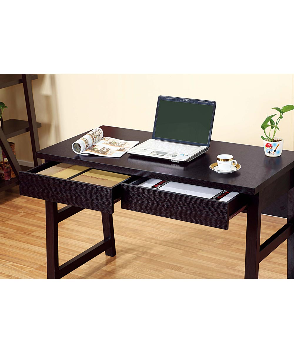 47 in. Wide Office Desk with 2 Metal Glide Drawers, Red Cocoa