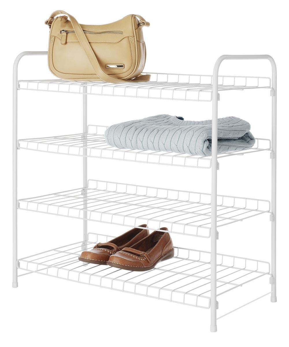 22.75 in. x 11.63 in. x 23.75 in. White Metal 4-Tier Closet Shelf
