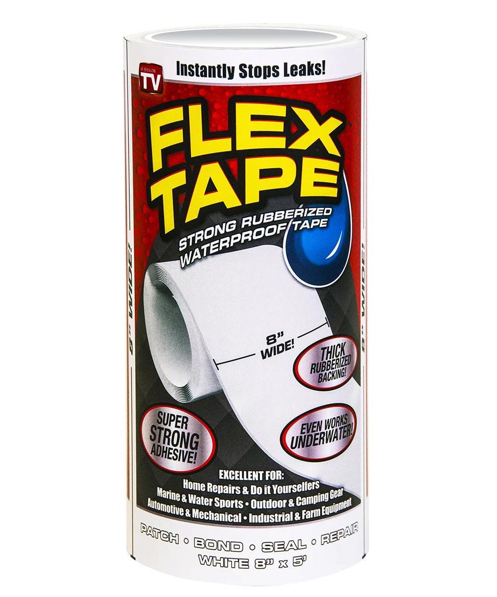 8 in. x 5 ft. Jumbo Waterproof Flex Tape, White