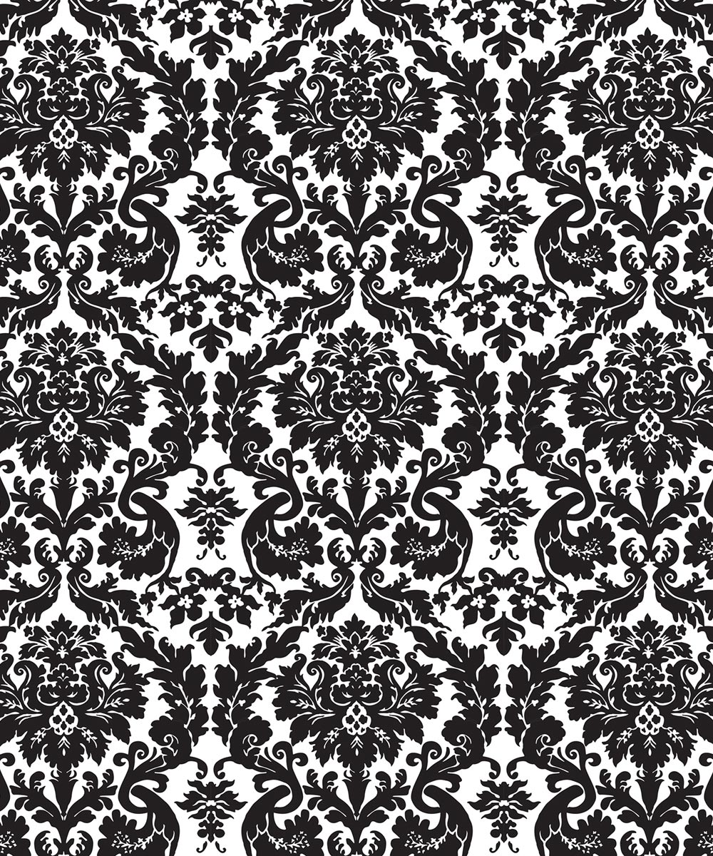 54 in. Magic Cover Acanthus Black Flannel Backed Yard (Sold Per Foot)