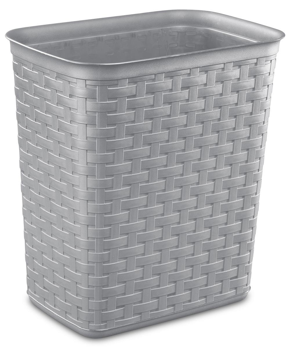 Sterilite 3.4 Gallon Weave Wastebasket, White