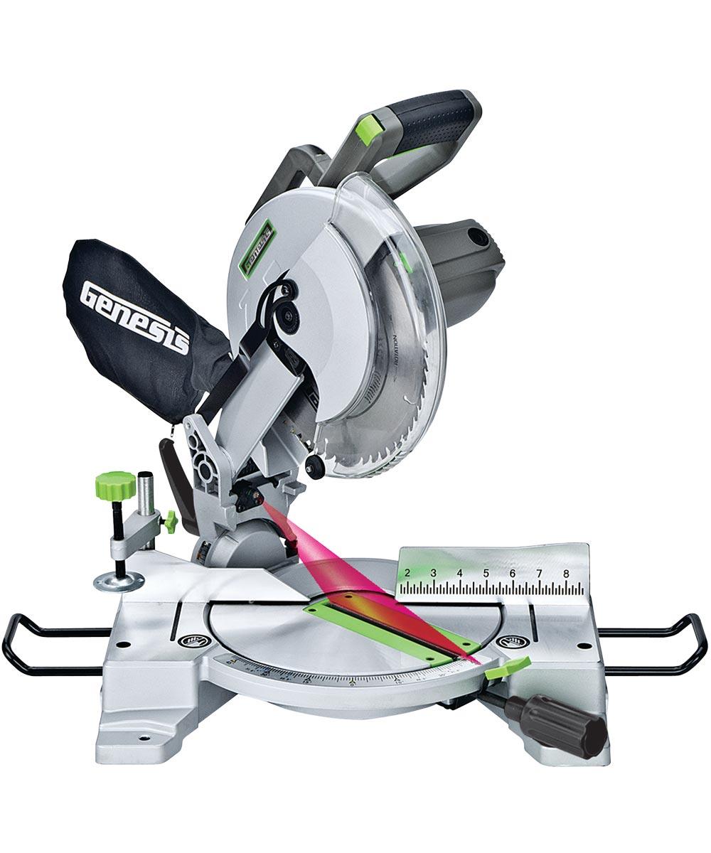 Genesis Compound Miter Saw, 120 VAC, 15 A, 10 in Dia, 4600 rpm