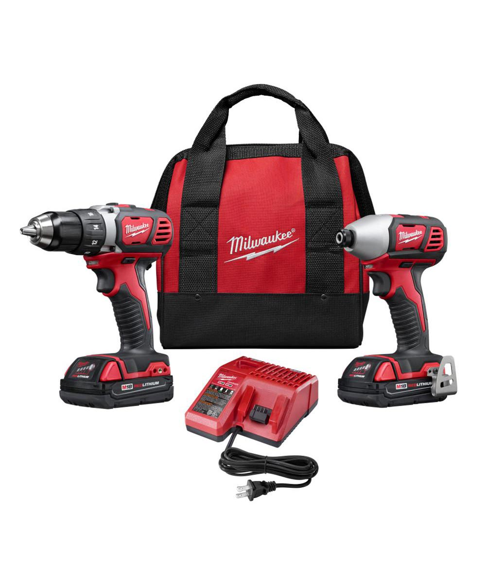 Milwaukee M18 Cordless Combo Kit with 1/2 in. Drill Driver / 1/4 in. Hex Impact Driver / 2 Batteries / Charger / Carry Bag