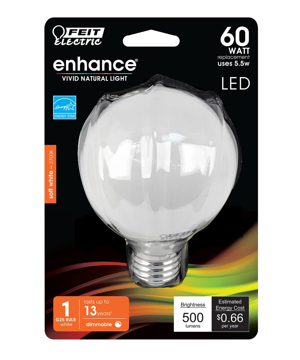 Feit Electric 5 Watt E26 G25 Frosted Soft White LED Dimmable Light Bulb