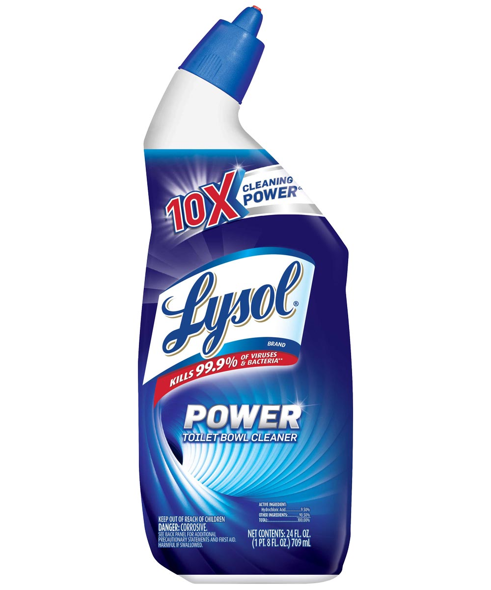 Lysol Disinfectant Toilet Bowl Cleaner, 24 oz Angle Neck Bottle, Blue Liquid