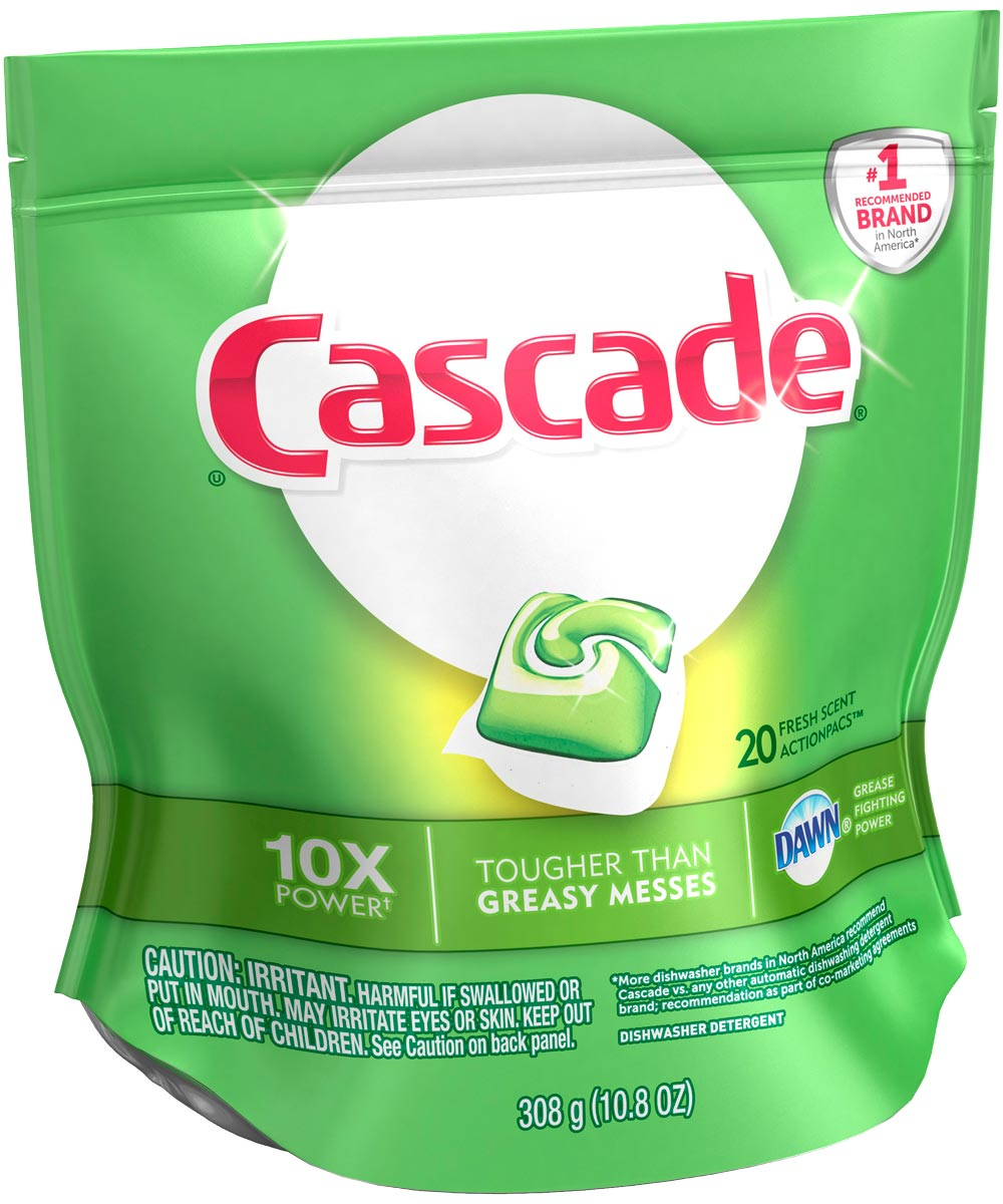 Cascade Dishwasher Detergent, 20 Count, Solid, Citrus, 10.8 - 11 pH, 0.93 - 1 Specific Gravity