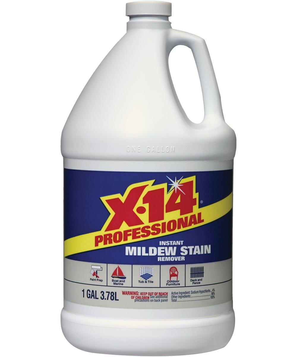 X-14 Mildew Stain Remover, 128 oz Bottle, Yellow Liquid