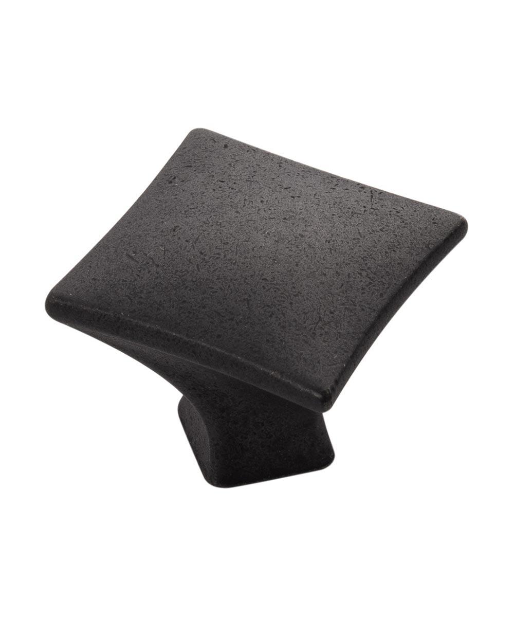1-1/4 in. Square Black Iron Twist Cabinet Knob