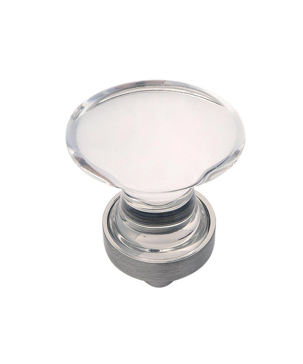 1-1/4 in. Round Clear/Satin Nickel Glass Gemstone Cabinet Knob