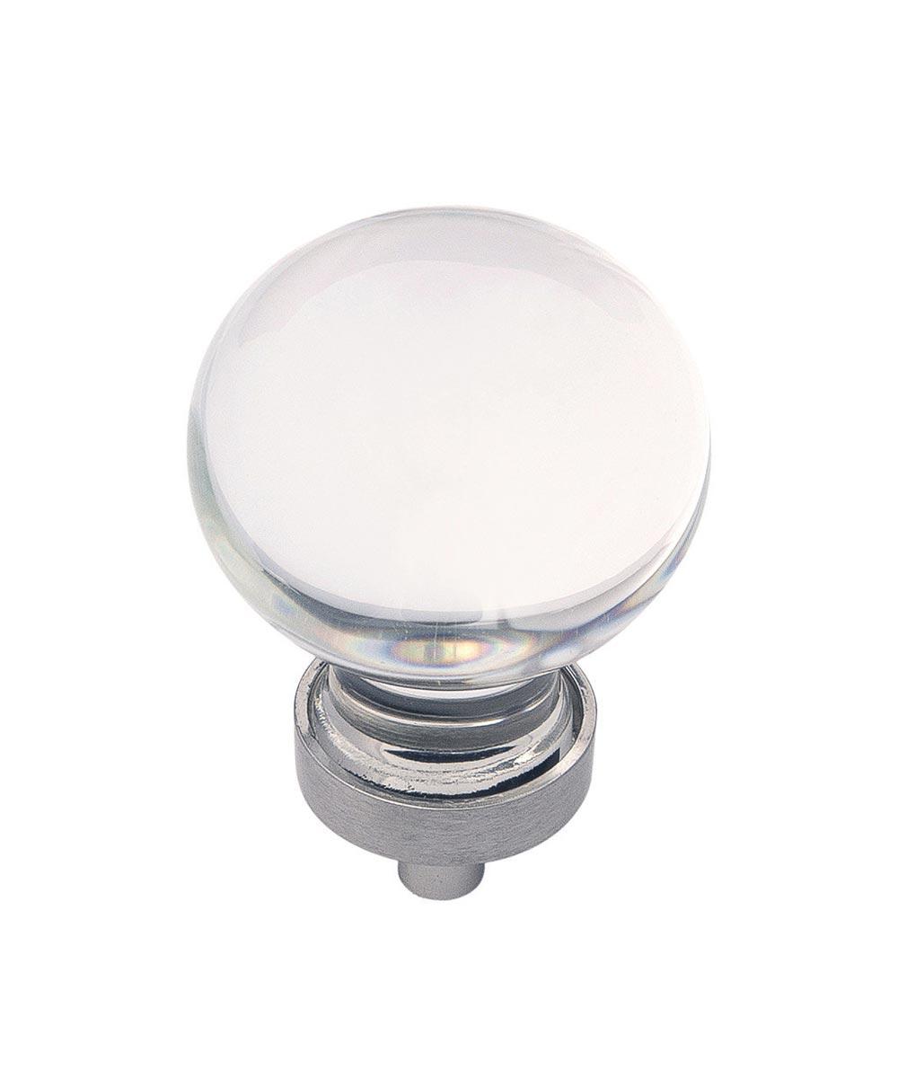1-3/8 in. Round Clear/Satin Nickel Glass Gemstone Cabinet Knob