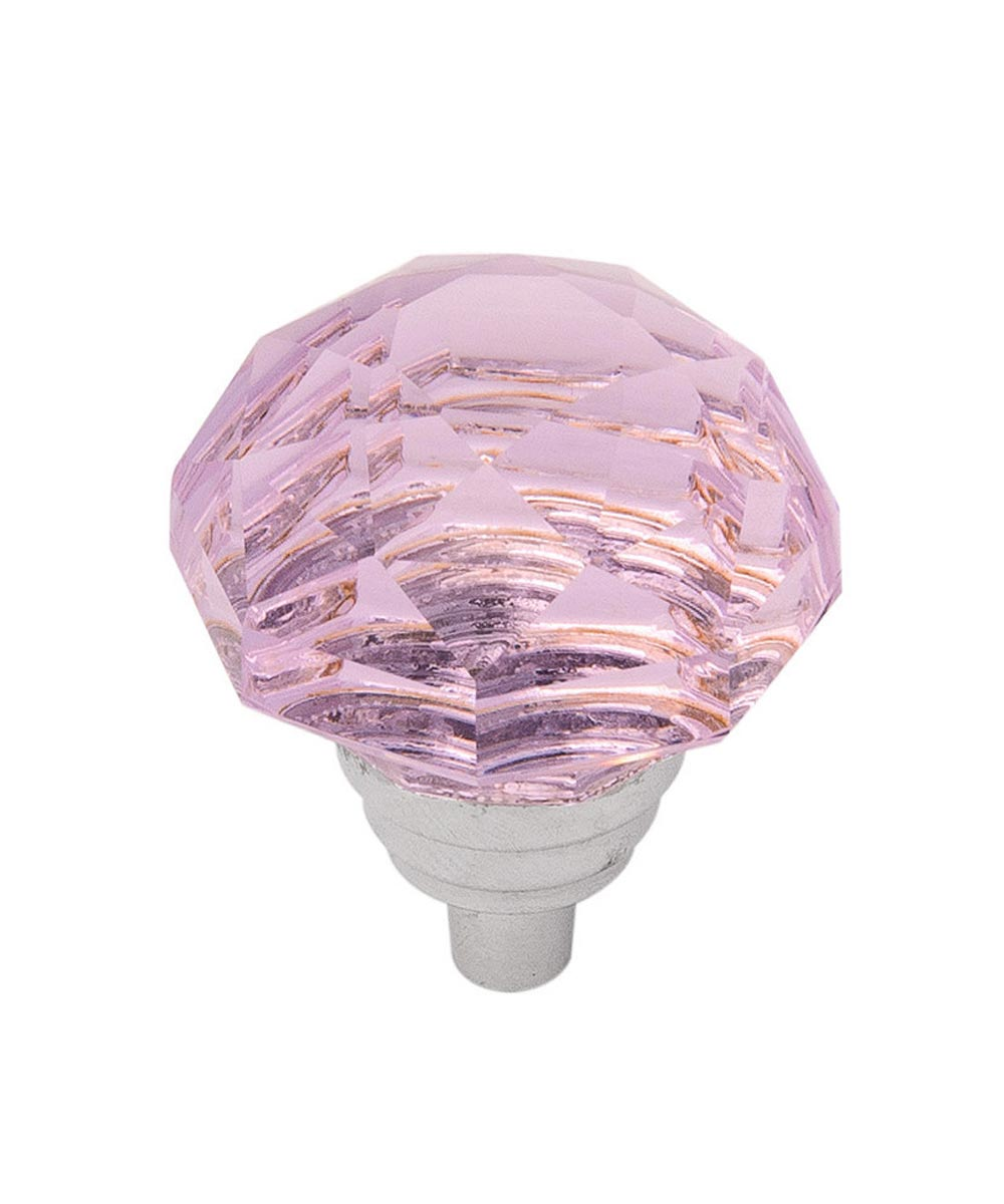 1-1/4 in. Pink/Chrome Glass Gemstone Cabinet Knob