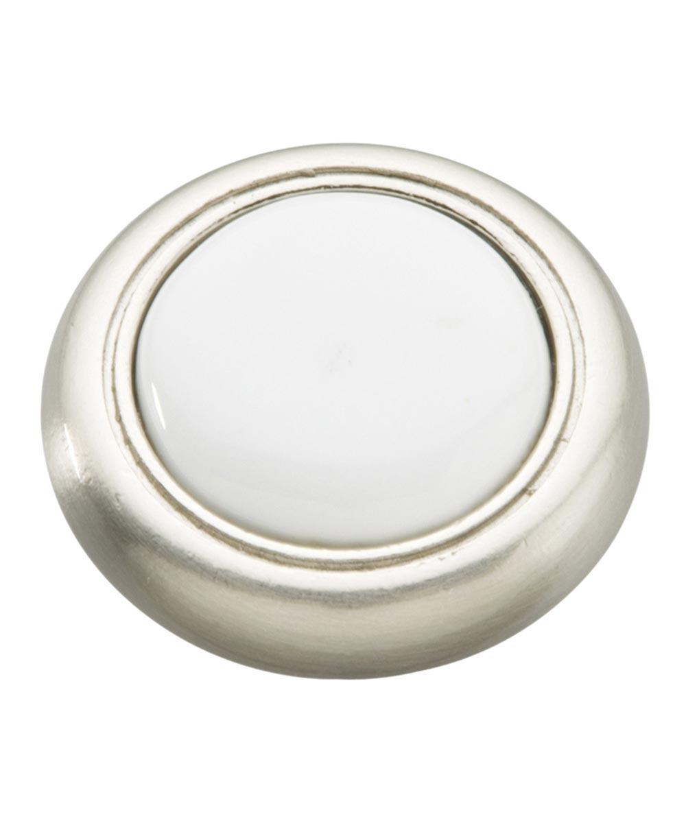 1-1/4 in. Round Satin Nickel/White Eclipse Cabinet Knob