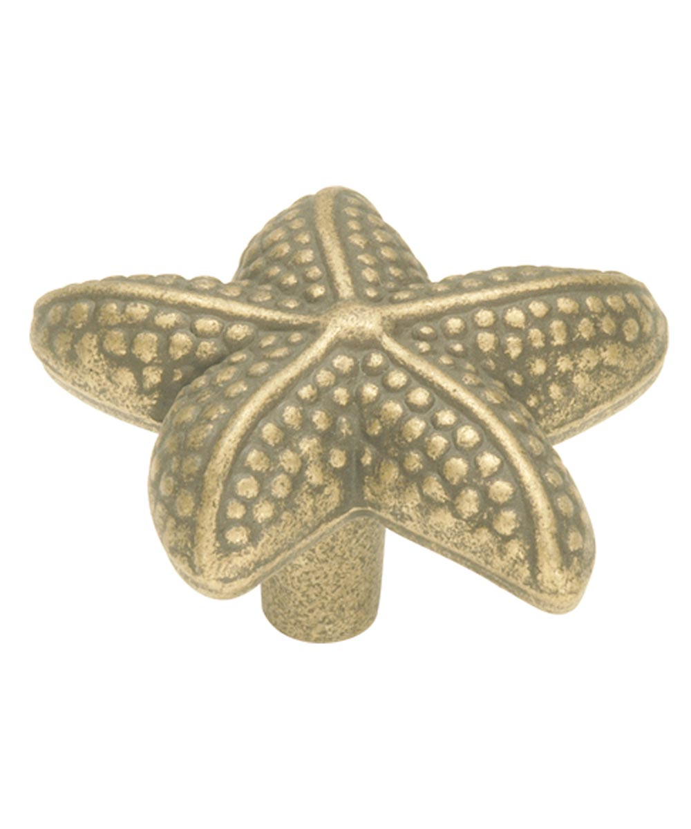 1-1/2 in. Antique Mist Star Fish South Seas Cabinet Knob