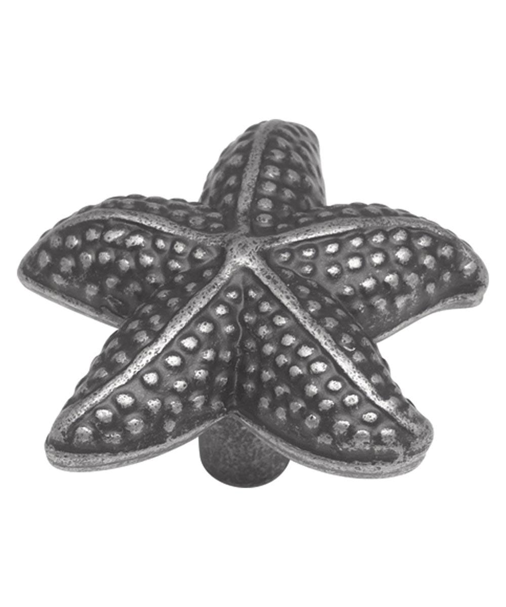1-1/2 in. Vibra Pewter Star Fish South Seas Cabinet Knob