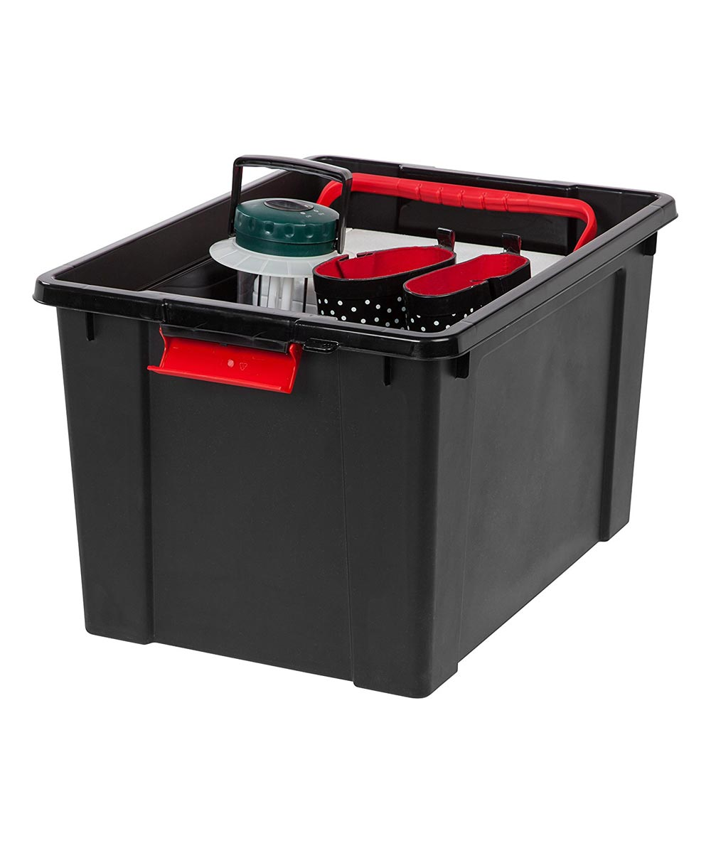 Lockable Store-It-All Tote Organizer, 19 Gallons, Black