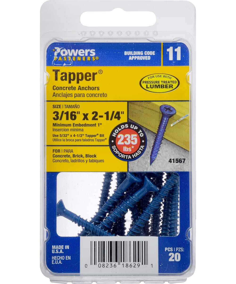 Blue Flat-Head Phillips Tapper Concrete Screw Anchor 3/16 in. x 2-1/4 in., 20 Pieces