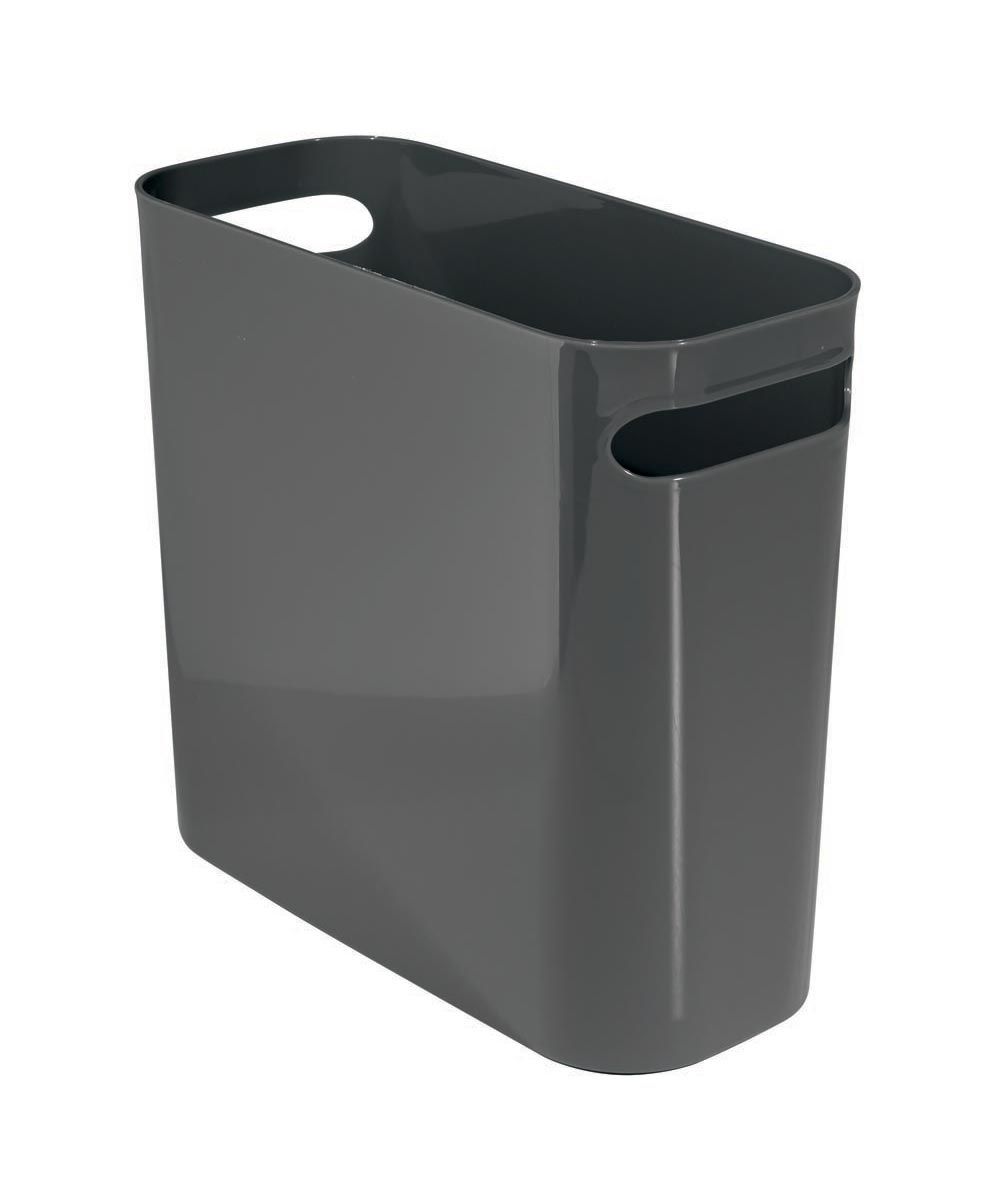 Una 10 Inch Plastic Trash Can, Slate