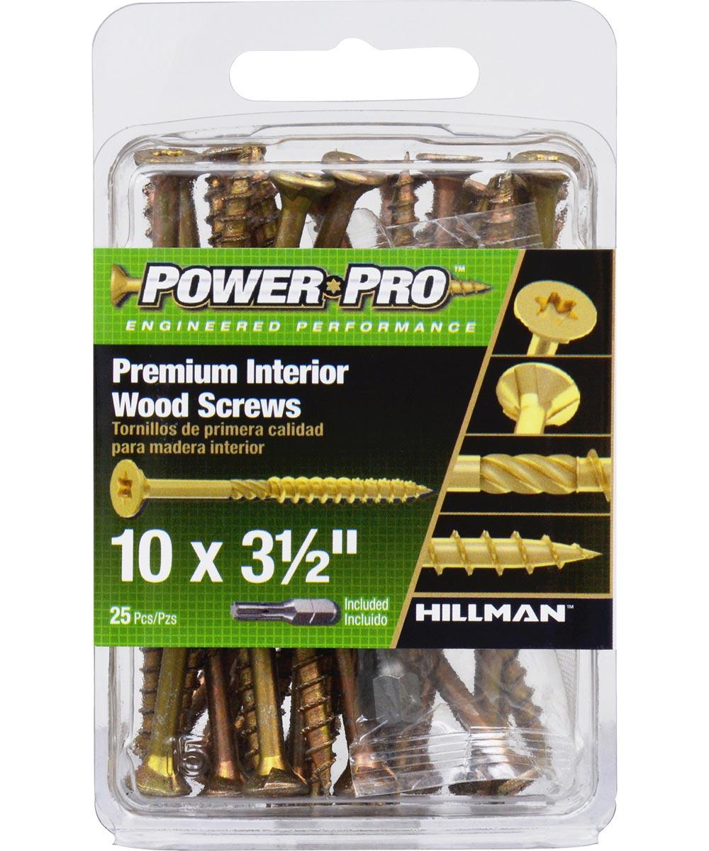 Power Pro Premium Interior Wood Screws #10 x 3-1/2 in., 25 Pieces