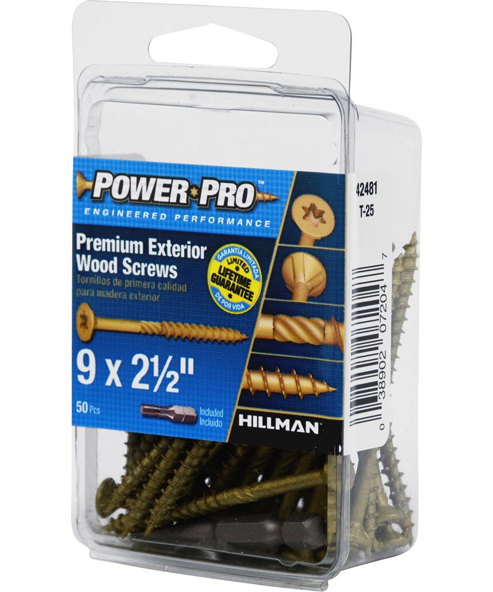 Power Pro Premium Exterior Wood Screw #9 x 2-1/2 in., 50 Pieces