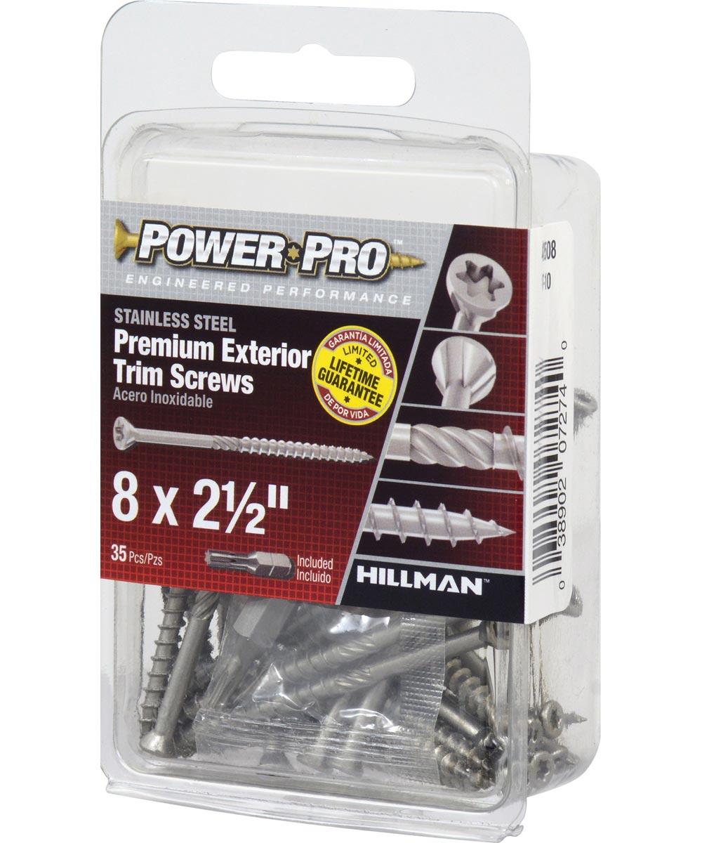 Power Pro Premium Exterior 305 Stainless Steel Trim Screws #8 x 2-1/2 in., 35 Pieces